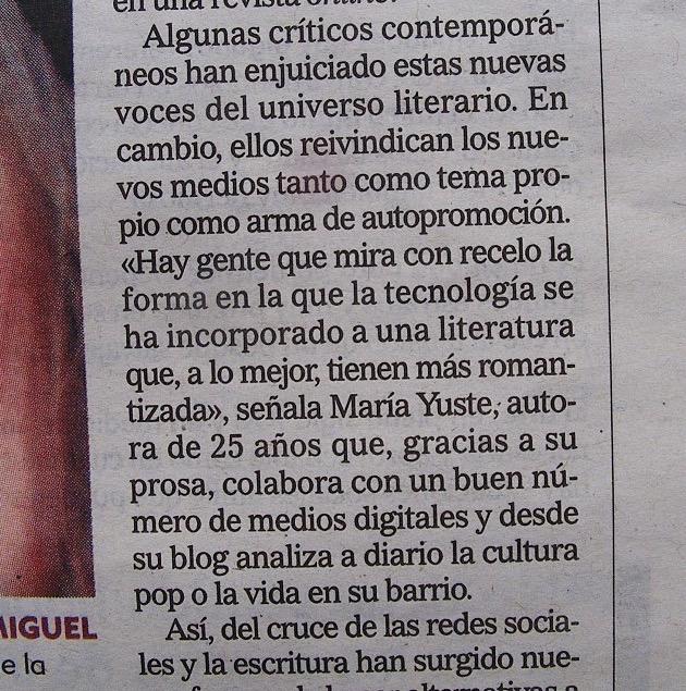 María Yuste en un artículo de El Mundo.