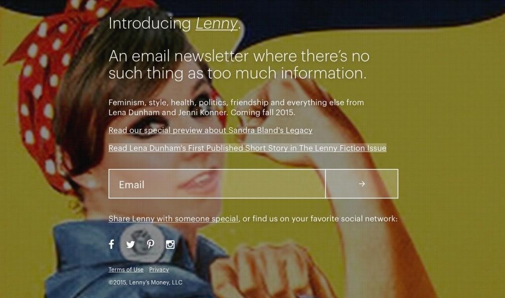Portada de la web de Lenny Letter.