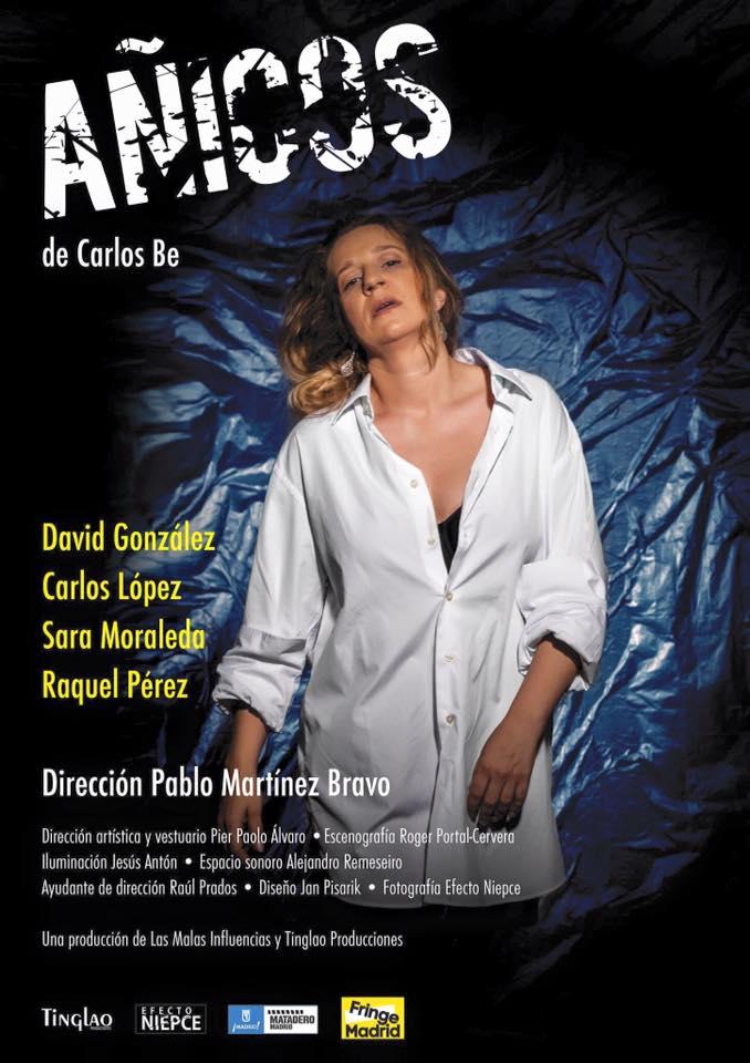 Raquel Pérez en uno de los carteles promocionales de Añicos, de Carlos Be. Con un telón de fondo tan destructivo como los casos de pederastia sucedidos en Ciudad Lineal en 2014. Foto: Efecto Niepce.