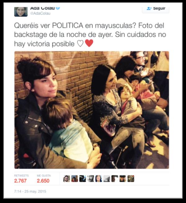 Tweet de Ada Colau durante un acto de la campaña a la alcaldía de Barcelona (2015).